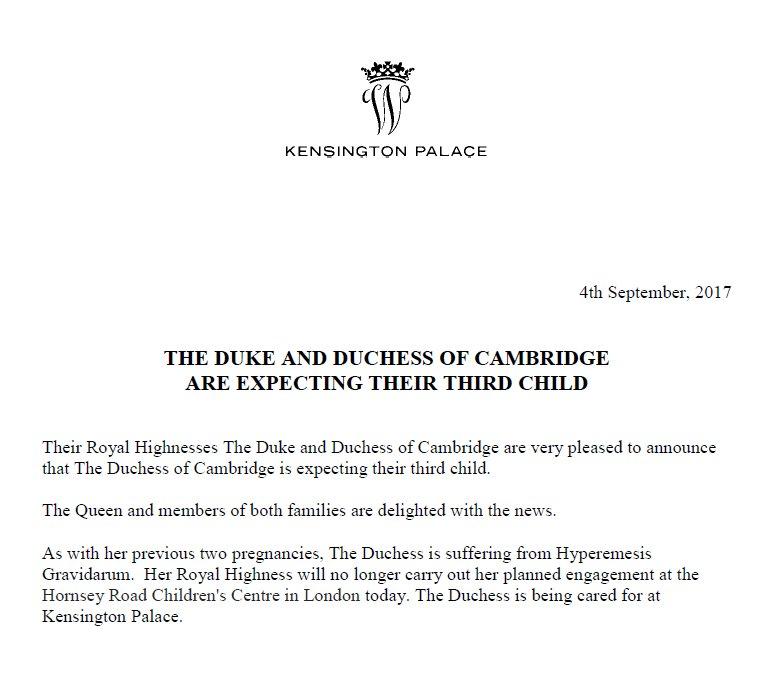 Kate Middleton pregnant with third child