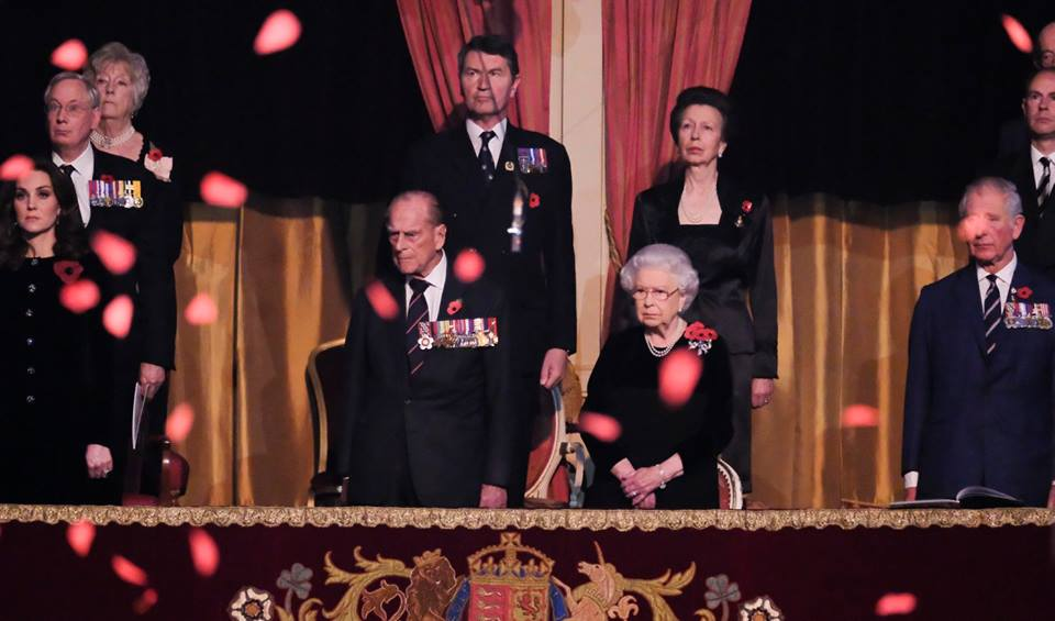 British Royal Family falling poppies Festival of Remembrance