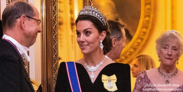 Kate stuns in velvet and diamonds for diplomatic reception